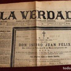 Coleccionismo de Revistas y Periódicos: LA VERDAD DIARIO DE NOTICIAS E INFORMACION REGIONAL, Nº 1382, MURCIA 21 MAYO 1907. Lote 89388356