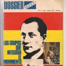 Coleccionismo de Revistas y Periódicos: DOSSIER MUNDO. Nº 2. LOS GRUPOS QUE INTEGRAN EL MOVIMIENTO. (B/58). Lote 89392016