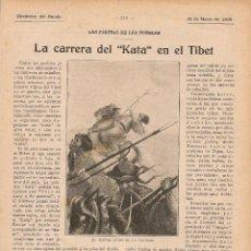 Coleccionismo de Revistas y Periódicos: * CARRERAS CABALLOS * LA CARRERA DEL KATA EN EL TÍBET - 1916. Lote 89460720