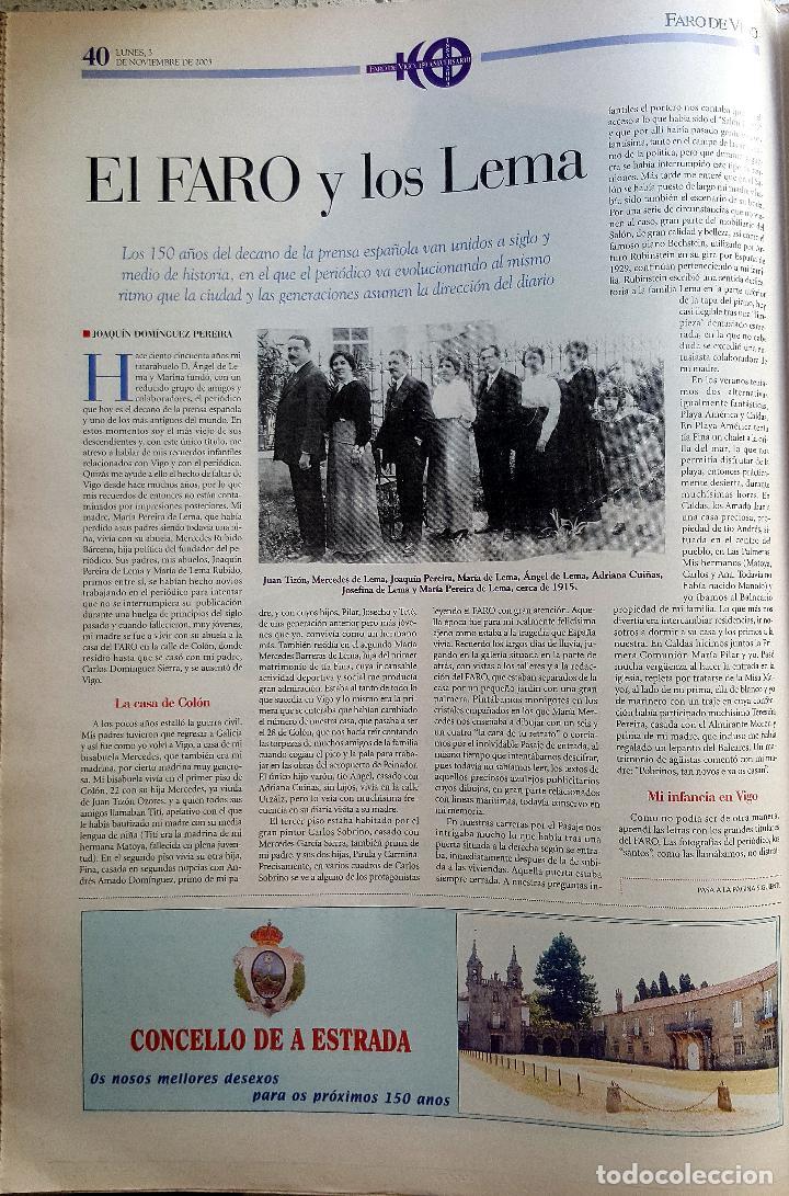 Coleccionismo de Revistas y Periódicos: FARO DE VIGO 150 AÑOS 2003. PRENSA. GALICIA - Foto 4 - 90183680