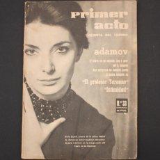 Coleccionismo de Revistas y Periódicos: PRIMER ACTO, REVISTA DEL TEATRO Nº 33 ABRIL 1962, ADAMOV, NURIA ESPERT, 64 PAGINAS. Lote 90815460