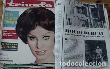 REVISTA TRIUNFO 1962 ROCÍO DÚRCAL SARA MONTIEL CARMEN SEVILLA (Coleccionismo - Revistas y Periódicos Modernos (a partir de 1.940) - Otros)