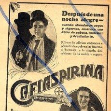 Coleccionismo de Revistas y Periódicos: CAFIASPIRINA 1928 ARGENTINA 2 HOJAS REVISTA. Lote 91452455