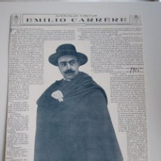 Coleccionismo de Revistas y Periódicos: ENTREVISTA REVISTA ORIGINAL 1915 A DON EMILIO CARRERE. Lote 91646335