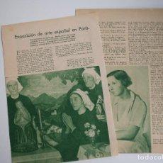 Coleccionismo de Revistas y Periódicos: REPORTAJE REVISTA ORIGINAL 1936. EXPOSICION DE ARTE ESPAÑOL EN PARÍS, PICASSO…. Lote 91647670