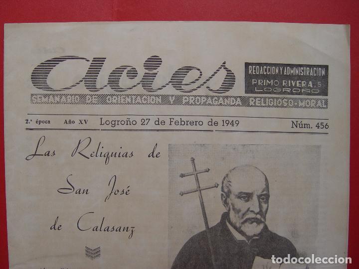 Coleccionismo de Revistas y Periódicos: Periódico ACIES (Logroño, 27-II-1949) ¡Ejemplar histórico! Coleccionista - Foto 2 - 92740095