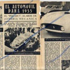 Coleccionismo de Revistas y Periódicos: PEGASO NUEVO AUTOMOVIL ESPAÑOL 1954 3 HOJAS REVISTA. Lote 92965765