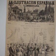 Coleccionismo de Revistas y Periódicos: GRABADO REVISTA ORIGINAL 1877. EXPOSICION VINICOLA MADRID 1877, INAUGURACION SU MAJESTAD. Lote 93364325
