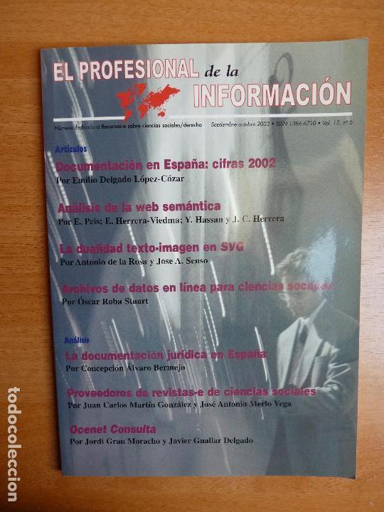 REVISTA EPI. EL PROFESIONAL DE LA INFORMACIÓN. SEPTIEMBRE-OCTUBRE 2003 VOL. 12 Nº 5 (Coleccionismo - Revistas y Periódicos Modernos (a partir de 1.940) - Otros)