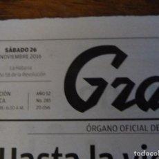 Coleccionismo de Revistas y Periódicos: PERIODICO GRANMA DEL DIA DE LA MUERTE DE FIDEL CASTRO. Lote 121357846