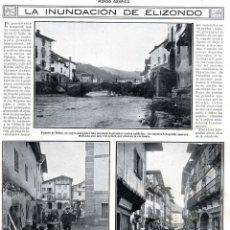 Coleccionismo de Revistas y Periódicos: ELIZONDO 1913 INUNDACION HOJA REVISTA. Lote 95893319