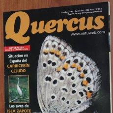 Coleccionismo de Revistas y Periódicos: REVISTA QUERCUS - CUADERNO 184 - JUNIO 2001 MARIPOSAS, TIBURONES BLANCOS, ISLA ZAPOTE, CARRICERIN. Lote 96341483