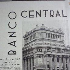 Coleccionismo de Revistas y Periódicos: BANCO CENTRAL. PUBLICIDAD REVISTA 1937. . Lote 96372319