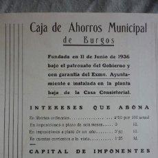 Coleccionismo de Revistas y Periódicos: CAJA DE AHORROS MUNICIPAL DE BURGOS. PUBLICIDAD REVISTA 1937. . Lote 96372587