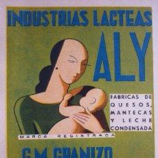 Coleccionismo de Revistas y Periódicos: INDUSTRIAS LACTEAS ALY. PUBLICIDAD REVISTA 1937. Lote 96378699