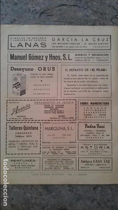 Coleccionismo de Revistas y Periódicos: El Pilar semanario catolico 1950 - Foto 2 - 96507175