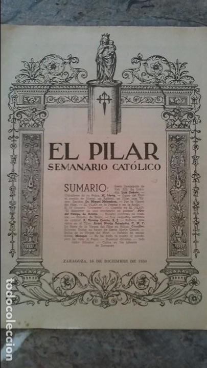 Coleccionismo de Revistas y Periódicos: El Pilar semanario catolico 1950 - Foto 3 - 96507175