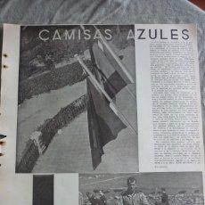 Coleccionismo de Revistas y Periódicos: CAMISAS AZULES, REPORTAJE ORIGINAL REVISTA AÑOS 30. Lote 96675799