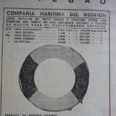Coleccionismo de Revistas y Periódicos: COMPAÑIA MARITIMA DEL NERVION PUBLICIDAD ORIGINAL REVISTA AÑOS 30. Lote 96676303