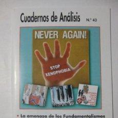 Coleccionismo de Revistas y Periódicos: CUADERNOS DE ANÁLISIS Nº 43 - MOVIMIENTO CONTRA LA INTOLERANCIA. Lote 96692487