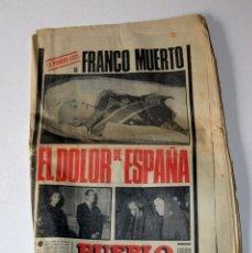 Coleccionismo de Revistas y Periódicos: PERIÓDICO EL PUEBLO. FRANCO A MUERTO JUEVES 20 DE NOVIEMBRE DE 1975. Lote 98124711