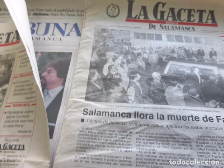 LOTE PRENSA MUERTE DE RAFAEL FARINA. VARIOS PERIÓDICOS SALAMANCA - RECORTES DE PRENSA (Coleccionismo - Revistas y Periódicos Modernos (a partir de 1.940) - Otros)