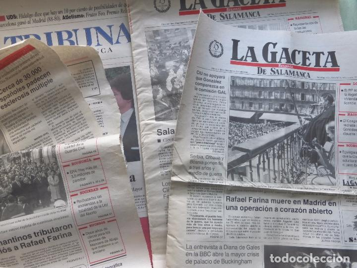 Coleccionismo de Revistas y Periódicos: LOTE PRENSA MUERTE DE RAFAEL FARINA. VARIOS PERIÓDICOS SALAMANCA - RECORTES DE PRENSA - Foto 2 - 98713411