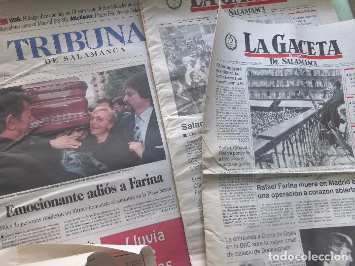Coleccionismo de Revistas y Periódicos: LOTE PRENSA MUERTE DE RAFAEL FARINA. VARIOS PERIÓDICOS SALAMANCA - RECORTES DE PRENSA - Foto 3 - 98713411