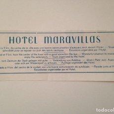 Coleccionismo de Revistas y Periódicos: PUBLICIDAD REVISTA ORIGINAL 1956. HOTEL MARAVILLAS, MALLORCA. Lote 98791475