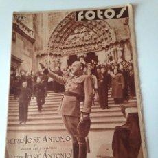 Coleccionismo de Revistas y Periódicos: SEMANARIO GRÁFICO NACIONALSINDICALISTA FOTOS Nº92 1938. MURIO JOSE ANTONIO PRIMO DE RIVERA. Lote 98953039