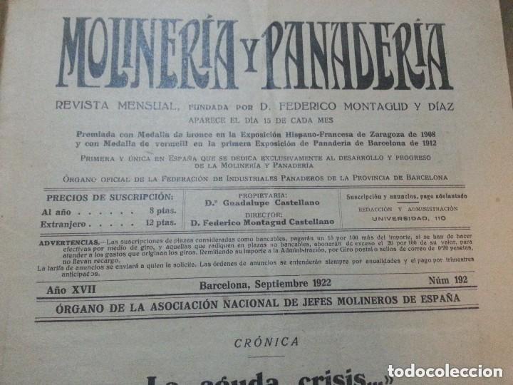 Coleccionismo de Revistas y Periódicos: REVISTA MOLINERIA Y PANADERIA SEPTIEMBRE DE 1922 NUMERO 192 - Foto 5 - 99181955