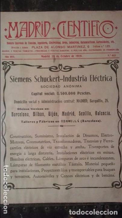 REVISTA MADRID CIENTIFICO N° 683 - 30 DE OCTUBRE DE 1910 (Coleccionismo - Revistas y Periódicos Antiguos (hasta 1.939))