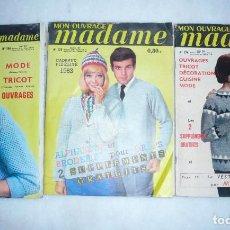 Coleccionismo de Revistas y Periódicos: MON OUVRAGE MADAME. REVISTA FRANCESA DE MODA, LABORES Y HOGAR. 3 NÚMEROS, 2 DE 1962 Y 1 DE 1963. Lote 99555311