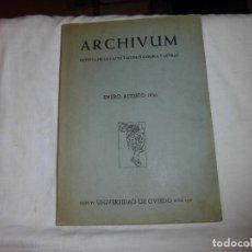 Coleccionismo de Revistas y Periódicos: REVISTA ARCHIVUM DE LA FACULTAD DE FILOSOFIA Y LETRAS.TOMO VI.ENERO-AGOS 1956. Lote 99556731
