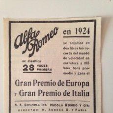 Coleccionismo de Revistas y Periódicos: PUBLICIDAD REVISTA ORIGINAL 1924. ALFA ROMEO. Lote 100590479