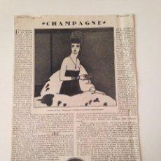 Coleccionismo de Revistas y Periódicos: HOJA REVISTA ORIGINAL 1917. CHAMPAGNE POR FEDERICO GARCIA SANCHIZ. Lote 100592683