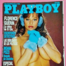 Coleccionismo de Revistas y Periódicos: REVISTA PLAYBOY Nº 142 - FLORENCE GUERIN - MOANA POZZI - DEBILIDADES POLITICOS - CAFE - AÑO 1990. Lote 101784887