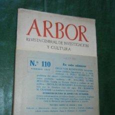 Coleccionismo de Revistas y Periódicos: ARBOR NUM.110 - FEBRERO 1955. Lote 102487283