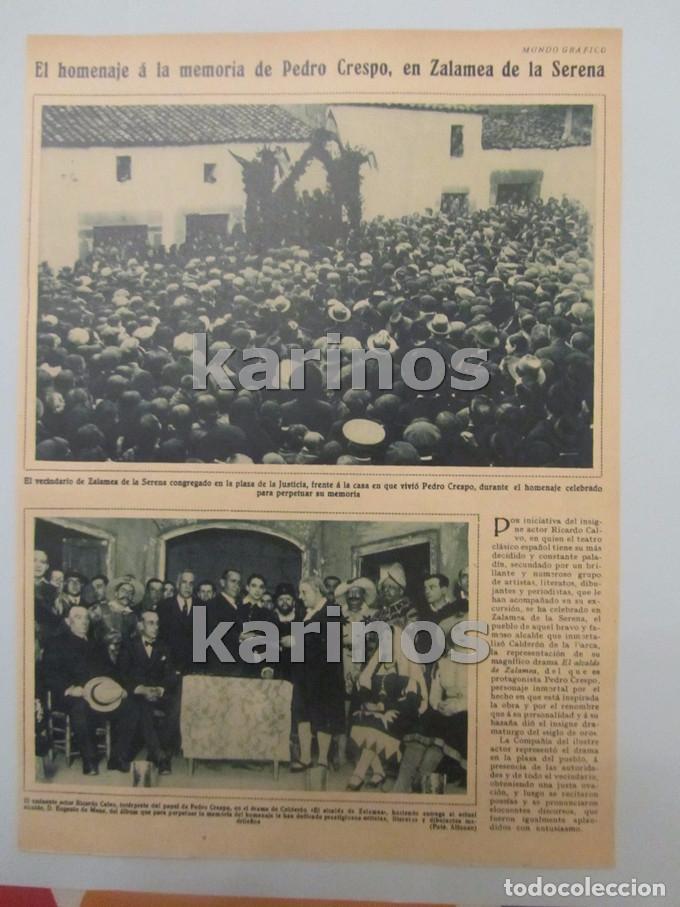 1930 ZALAMEA DE LA SERENA, HOMENAJE A PEDRO CRESPO. MELILLA, CONDUCTORES LA FRATERNIDAD, SIDI – ABB (Coleccionismo - Revistas y Periódicos Antiguos (hasta 1.939))