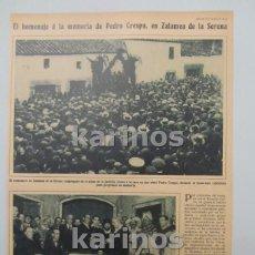 Coleccionismo de Revistas y Periódicos: 1930 ZALAMEA DE LA SERENA, HOMENAJE A PEDRO CRESPO. MELILLA, CONDUCTORES LA FRATERNIDAD, SIDI – ABB . Lote 103107475