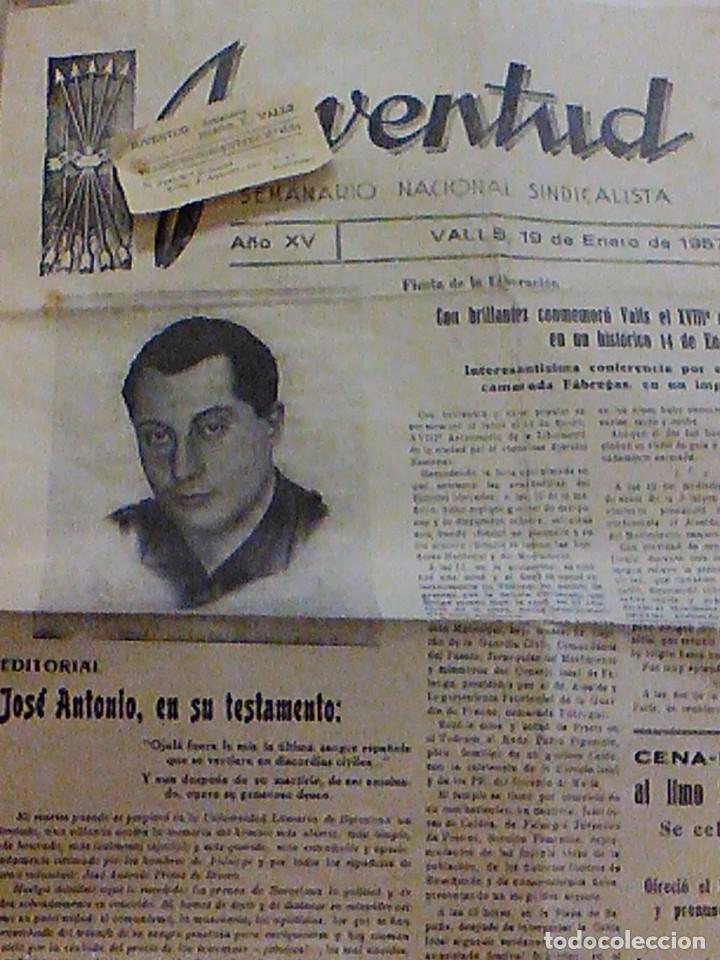 PERIODICO JUVENTUD SEMANARIO NACIONAL SINDICALISTA Nº 730 VALLS 19 ENERO DE 1957 JOSE ANTONIO (Coleccionismo - Revistas y Periódicos Modernos (a partir de 1.940) - Otros)