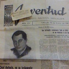 Coleccionismo de Revistas y Periódicos: PERIODICO JUVENTUD SEMANARIO NACIONAL SINDICALISTA Nº 730 VALLS 19 ENERO DE 1957 JOSE ANTONIO . Lote 103171231