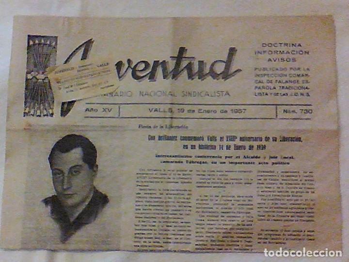 Coleccionismo de Revistas y Periódicos: periodico Juventud semanario nacional sindicalista nº 730 VALLS 19 enero DE 1957 jose antonio - Foto 2 - 103171231