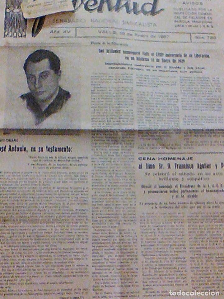 Coleccionismo de Revistas y Periódicos: periodico Juventud semanario nacional sindicalista nº 730 VALLS 19 enero DE 1957 jose antonio - Foto 3 - 103171231