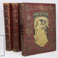 Coleccionismo de Revistas y Periódicos: 3 TOMOS CON LA ILUSTRACIÓN ARTÍSTICA AÑOS 1894, 1895 Y 1898 - VARIOS NÚMEROS - MONTANER Y SIMÓN. Lote 103294267