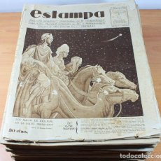 Coleccionismo de Revistas y Periódicos: LOTE REVISTAS ESTAMPA AÑO 1928 COMPLETO-1 (DEL Nº 1 AL 52, FALTA Nº 14), SUELTAS SIN ENCUADERNAR. Lote 103714395
