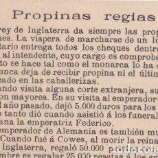 Coleccionismo de Revistas y Periódicos: PROPINAS REGIAS - 1904. Lote 103808207