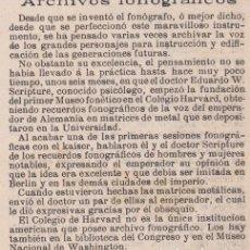 Coleccionismo de Revistas y Periódicos: ARCHIVOS FONOGRÁFICOS - 1904. Lote 103820439