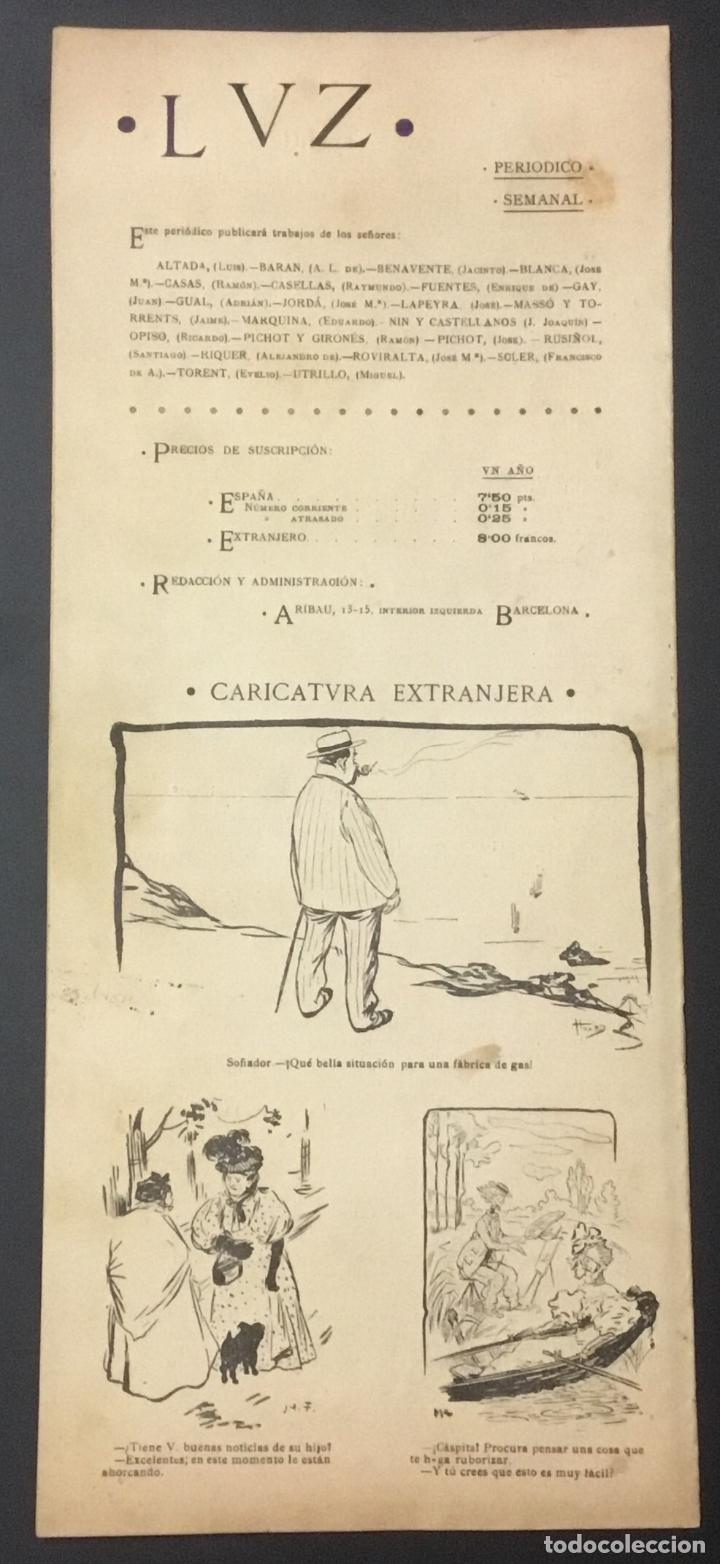 Coleccionismo de Revistas y Periódicos: REVISTA LUZ. 2ª ÉPOCA. 8 NÚMEROS. RARÍSIMA REVISTA MODERNISTA. - Foto 8 - 104057303