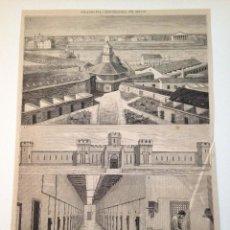 Coleccionismo de Revistas y Periódicos: HOJA GRABADO REVISTA ORIGINAL SIGLO XIX. PENITENCIARIA DEL ESTADO, FILADELFIA. Lote 104243235